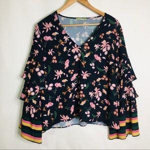 Gianni Bini trumpet sleeve floral stripe blouse